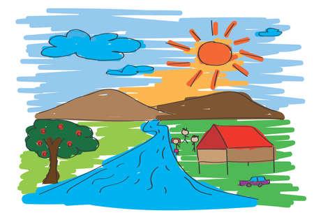 Paint of Landscape., Free Hand., kids Art concept.