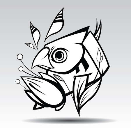 The parrot Design white background. Vettoriali