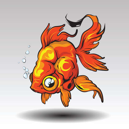 Imagination of goldfish tattoo Design concept.