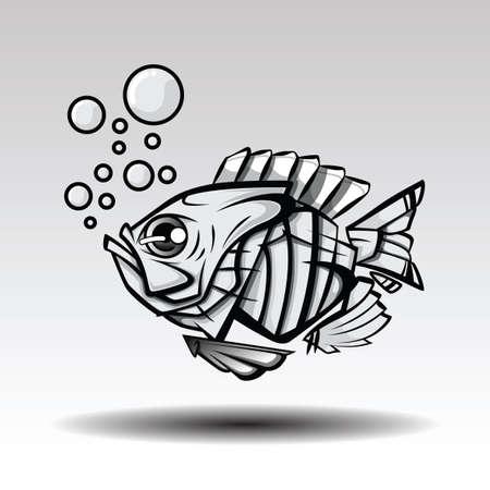 Imaginación del concepto de diseño de tatuajes de peces de hojas.