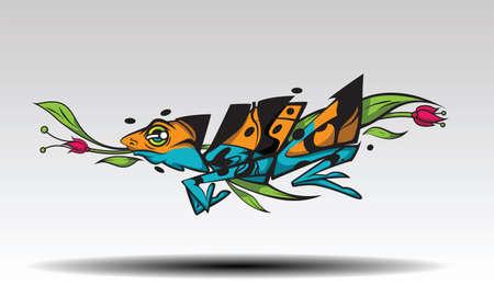 Imagination of Leaves fish tattoo Design concept.