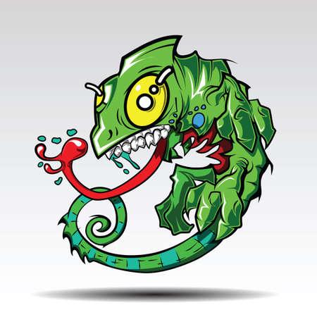 Green cartoon chameleon tattoo Design.