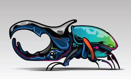 Rhino Beetle Cartoon Character with Design.,  Art Illustration