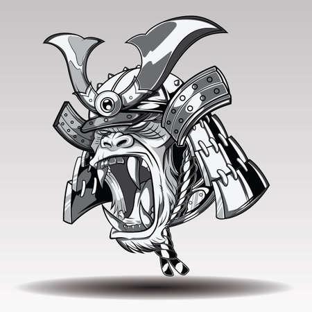 Fierce Gorilla Samurai., tattoo concept. Ilustracja