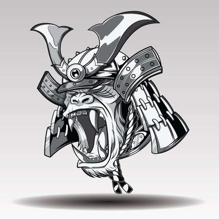 Fierce Gorilla Samurai., tattoo concept.  イラスト・ベクター素材