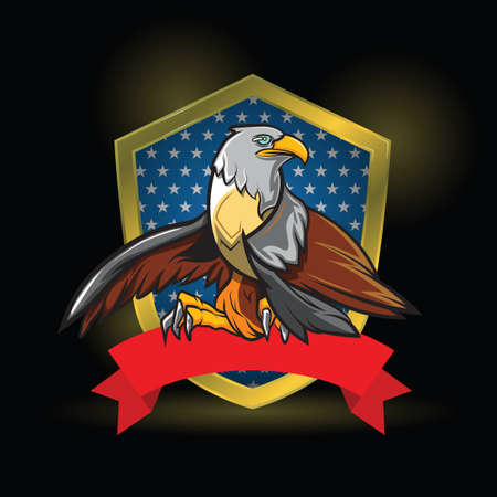 Eagle in shield logo Design black background.