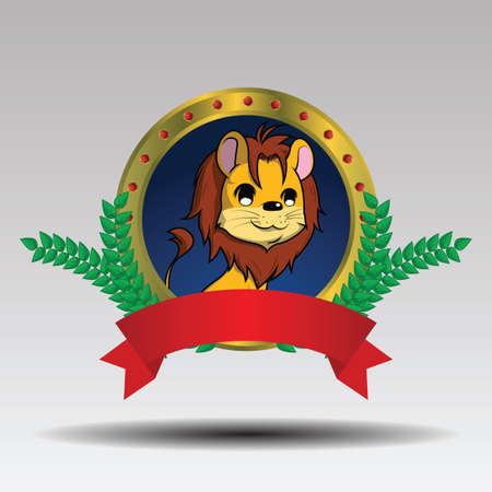 Cute lion cartoon on Circle and Leaves., logo design vector.