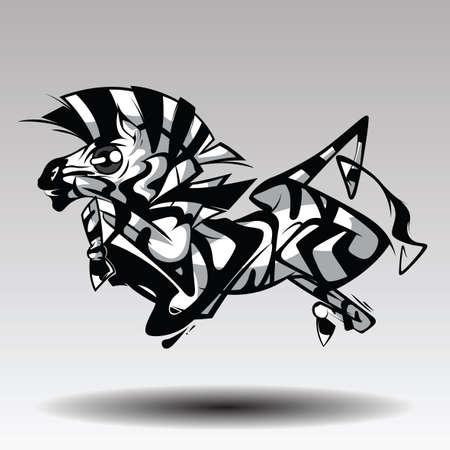 Design of Cartoon funny zebra running isolated on white background 向量圖像