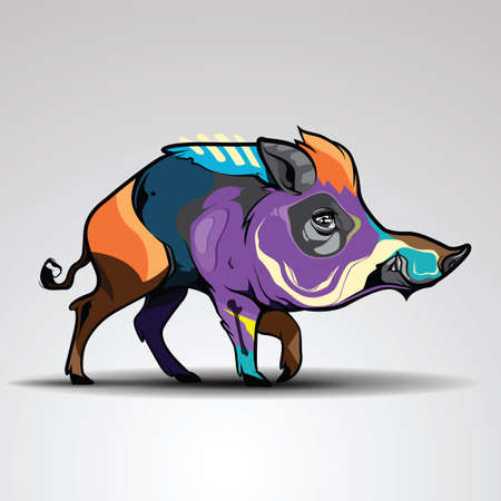 Wild boar or wild pig graphic. Illustration