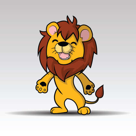 Happy Cute lion cartoon vector