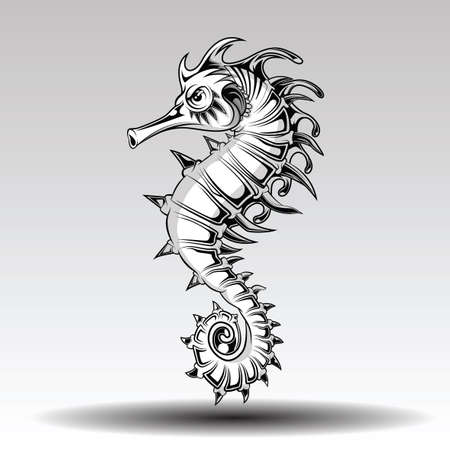 Hand drawn sea horse style for tattoo.