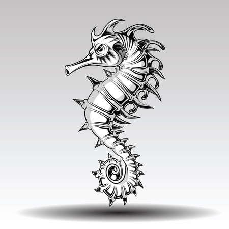 Hand getekende zeepaardje stijl voor tattoo. Vector Illustratie
