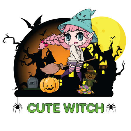 Cute witch Halloween., Halloween content. Zdjęcie Seryjne - 111488929