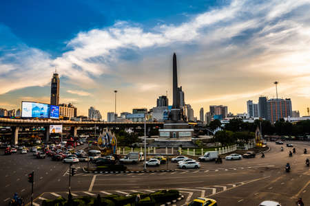Traffic conditions at Victory point., Bangkok. Thailand.  25 OCT 2018.