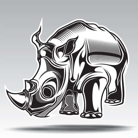 hand drawn illustration of rhino with decorative elements.