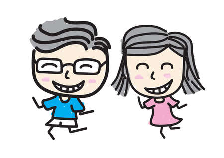 Boy and Girl smile In love., kid draw style. 일러스트
