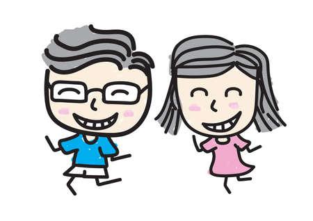 Ragazzo e ragazza sorridono innamorati., stile di disegno per bambini. Vettoriali