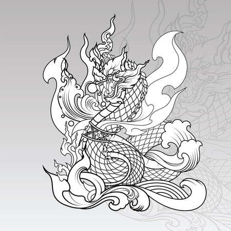 Dragon thaïlandais dessiné à la main sur l'eau, Line Thai est un style thaïlandais et un design de tatouage. Le Naga est un animal sauvage de la forêt d'Himapan.