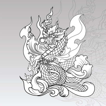 Hand drawn Thai Dragon on water, Line Thai is Thailand Style and Tattoo design.The Naga is a wild animal in Himmapan Forest.
