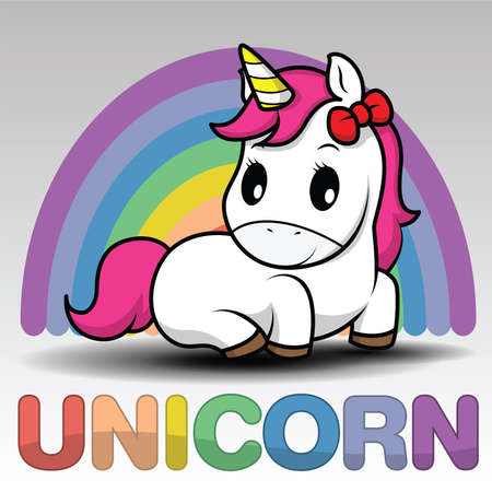 Cute Cartoon Smiling Unicorn on a white background with stars and dots