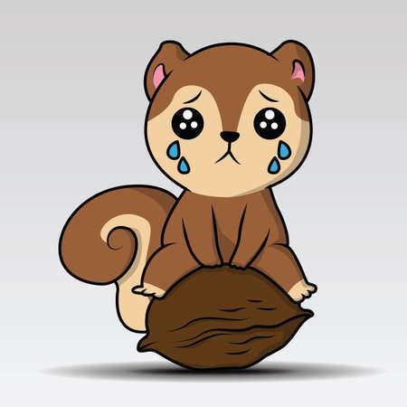 Cute Squirrel Cartoon Mascot Character Holding A Acorn