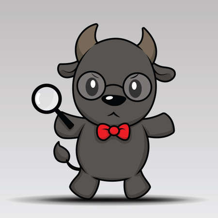 cute buffalo cartoon posing for you design Vettoriali