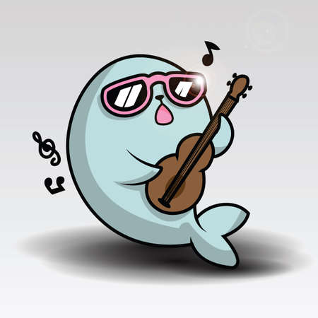 Hand drawn vector illustration of a kawaii funny cat seal
