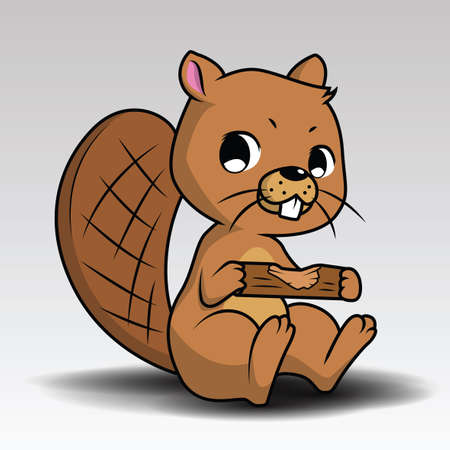 cute beaver in the camp vector illustration design