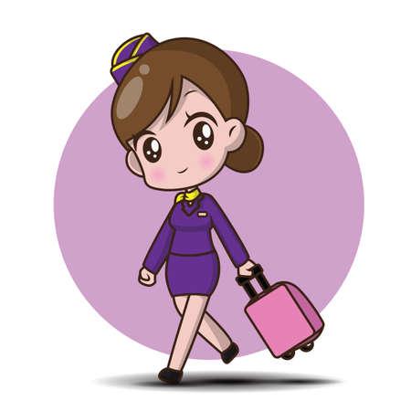 Cute cartoon character air hostess. Stockfoto - 120813106