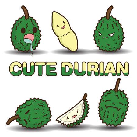 Cute Durian cartoon vector