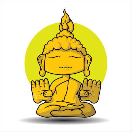 Cute Buddha statue cartoon. Stock Vector - 126253126