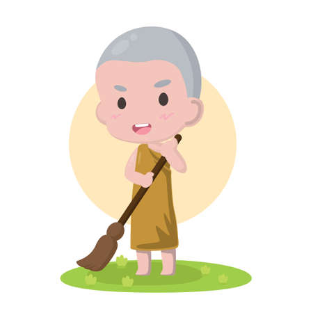 Cute Cartoon character Little monk.