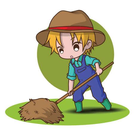 Cute Cartoon young farmer holding rake. Illustration