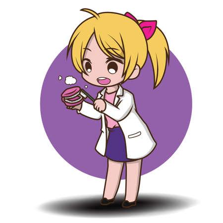 cute Dentist cartoon holding dentist tools Illusztráció