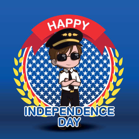 Cute Air Force Pilot cartoon character. Happy independence day.