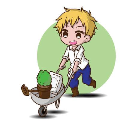 cute gardener character., job concept. Reklamní fotografie - 138099985