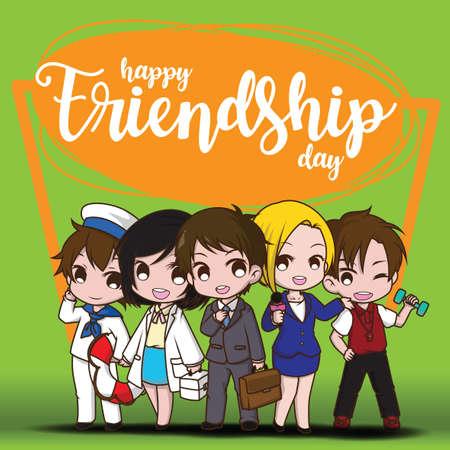 Happy Friendship day, Children in Job suit, Job concept.