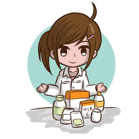 cute Pharmacist cartoon, Job Concept.