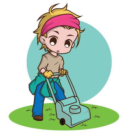 cute gardener character., job concept. Reklamní fotografie - 138099345
