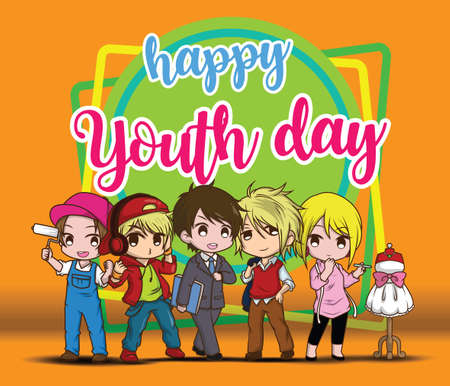 Happy Youth day. Children in Job suit, Job concept