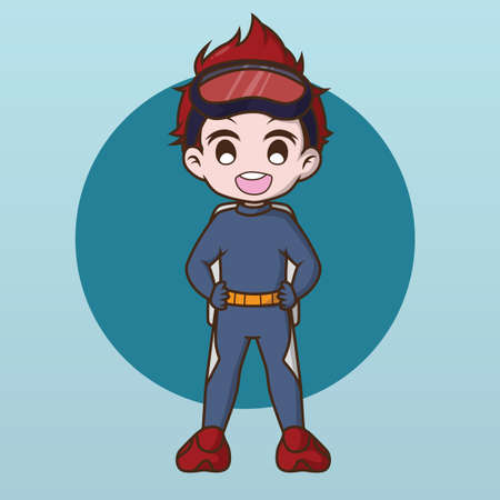 Cute water Diver charactor design. Banque d'images - 138346870