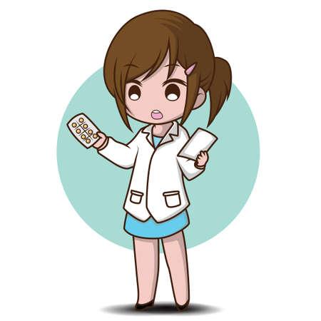 cute Pharmacist cartoon., Job Concept. Illustration