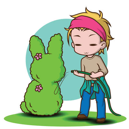 cute gardener character., job concept. Ilustrace