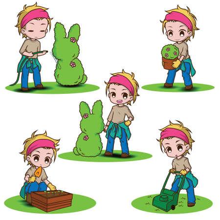 Set cute gardener character., job concept. Reklamní fotografie - 138099813