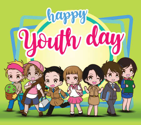 Happy Youth day, Children in Job suit, Job concept.