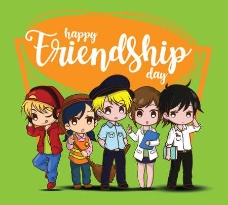 Happy Friendship day. Children in Job suit. Job concept. Illustration