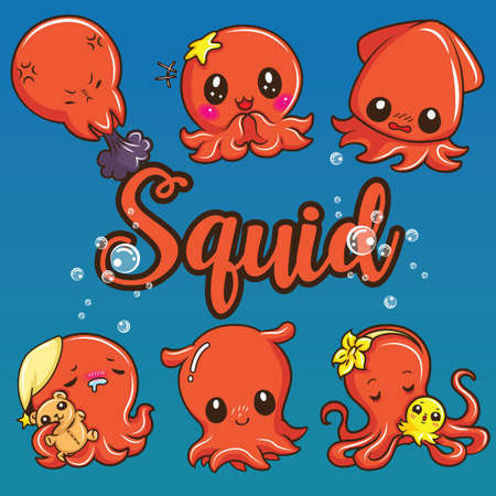 Set cute squid cartoon., Animal cartoon concept.
