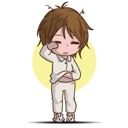 cute boy Sleepwalking cartoon character