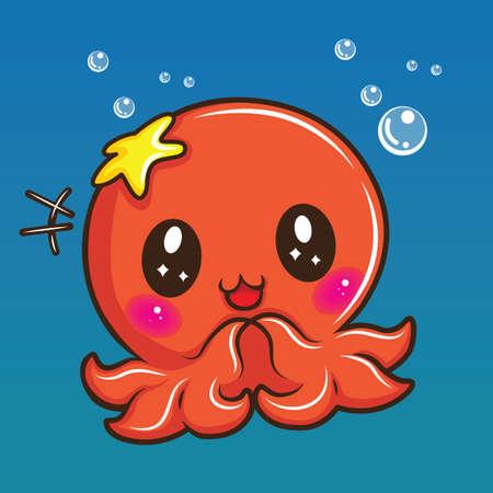 cute squid cartoon., Animal cartoon concept. Illusztráció