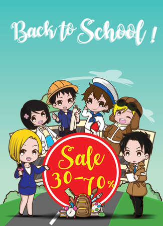 Back to school sale banner Vettoriali